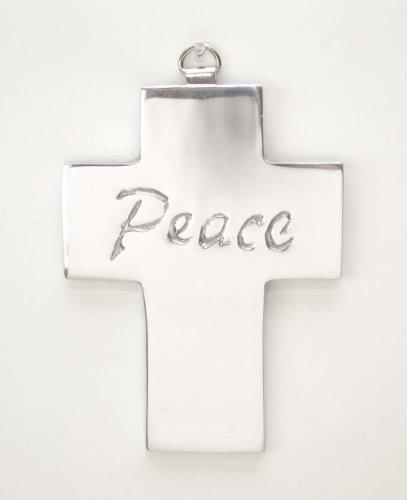 Polished Aluminum Wall Cross, Peace 4.5h