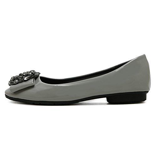 AdeeSu Womens Square-Toe Rhinestones No-Closure Urethane Flats Shoes Gray TFttR