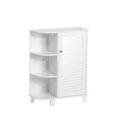 RiverRidge Ellsworth Collection Floor Cabinet with Side Shelves, White (Cabinet Bar White Corner)