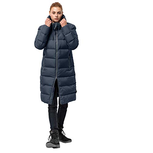 Jack Wolfskin Women's Crystal Palace Down Puffer Long Jacket, Midnight Blue, Medium -