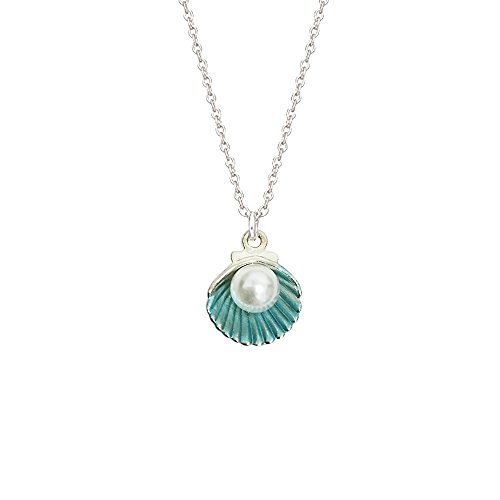 Satr and Sea Cute Colored Artifical Shell Pearl Pendant Necklace for Girl and Women (Blue) -
