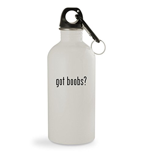 got boobs? - 20oz White Sturdy Stainless Steel Water Bottle with Carabiner by Knick Knack Gifts