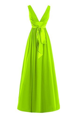 Soirée De Bal Formelle Longue En Mousseline De Soie Cou V Profond Bess Femmes Mariée Robe Vert Lime