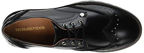 K299 Derby Stringate Donna Jeans Scarpe Piping Nero Zig Zag Nero Trussardi vFXYH
