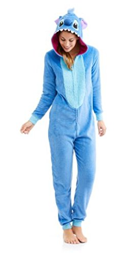 Disney Women's Faux Fur Licensed Sleepwear Adult Costume Union Suit Pajama (XS-3X) Stitch (Lilo And Stitch Costumes For Adults)