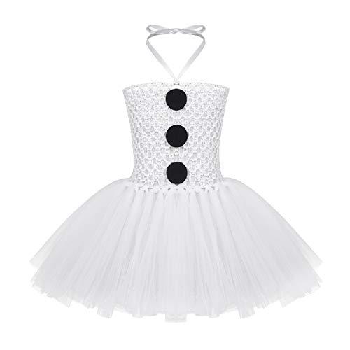 ACSUSS Newborn Toddler Girls Christmas Xmas Halter Tutu Dress White Snowman Costumes White 0-24 Months for $<!--$13.95-->