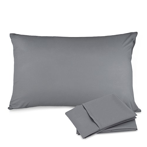 Adoric Life Pillow Cases Queen Size - 100% Brushed Microfiber, Ultra Soft - Envelope Closure End - Wrinkle, Fade, Stain Resistant - Set of 2, Gray (Size Queen Pillow Case)