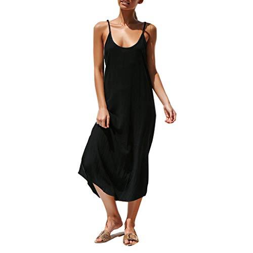 TWGONE Sleeveless Dresses For Women Summer V Neck Boho Solid Lady Beach Sundrss Maxi Dress (Small,Black) ()
