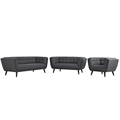 Modway EEI-2974-GRY-SET Bestow Mid-Century Modern Upholstered Fabric Sofa, Loveseat and Armchair Set, 3 Piece, Gray