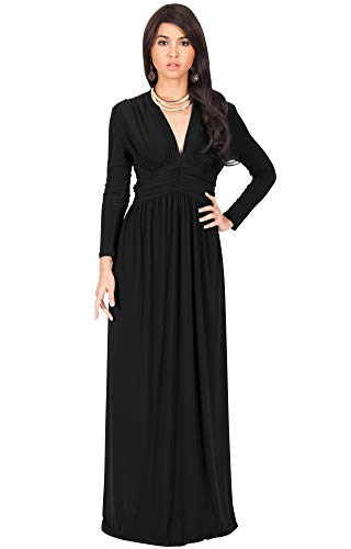 KOH KOH Petite Womens Long Sleeve Sleeves Vintage V-Neck Autumn Fall Winter Formal Evening Casual Flowy Maternity Abaya Muslim Islamic Cute Gown Gowns Maxi Dresses, Black S 4-6