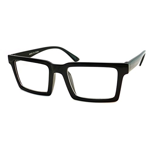 RETRO Trendy Geometric Square Frame Men Women Clear Lens Eye Glasses BLACK - Mens Spectacles Designer