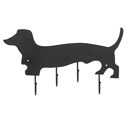 MyGift Decorative Dachshund Dog Design Black Metal Wall Mounted 4 Hook Organizer Rack