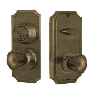 Weslock 1501E Unigard Interconnected Entry Set with Panic Proof Function and Ele, Antique Brass