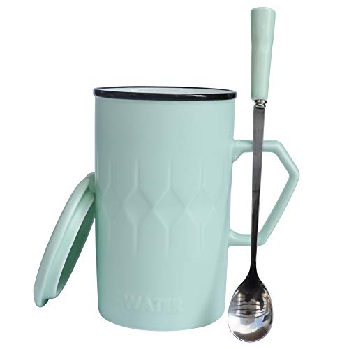 l Ceramic Coffee Mugs with Lids and Handles for Women, Pretty Larger Tea Cups with Spoon, Crazing Gift for Family (Light Green) ()