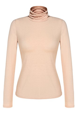 Zeagoo Women's Basic Slim Fit Long Sleeve Turtleneck T-shirt Plus Top and Blouse (Small, Camel(FBA)) by Zeagoo