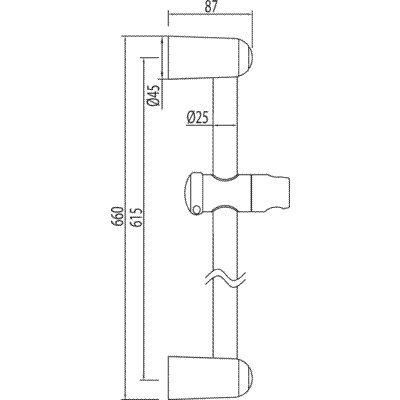 614 mm. Tre valvole 143835-Barra ECO /ø 25 mm long