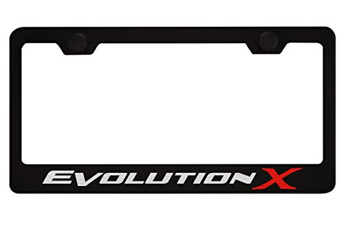 Mitsubishi Evolution X Black License Plate Frame with Caps ()