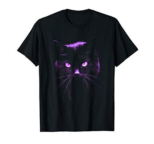 Black Cat T Shirt, Purple Light Cats Eyes Pet Tee Cat Womens Light T-shirt