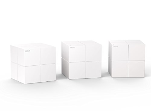 Tenda Nova MW6(3-pack) Whole Home Mesh Router WiFi System Coverage up to 6,000 sq. ft, Plug and Play, Works with Alexa,Parental Controls,2 Gigabit Ports/Unit
