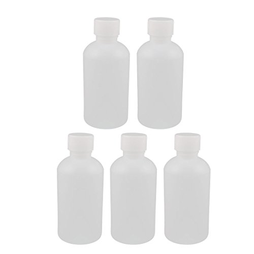 Uxcell a16082700ux0241 250ml Plastic Round Laboratory Reagent Bottle Sample Sealing Bottle White (Pack of 5)