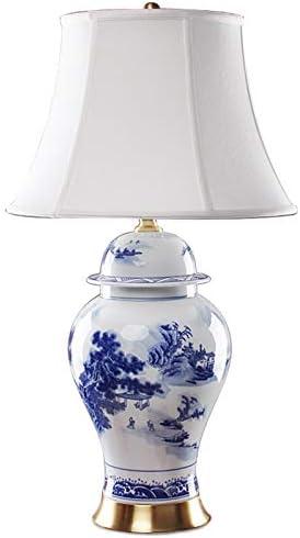 Lámpara de mesa de porcelana azul y blanca