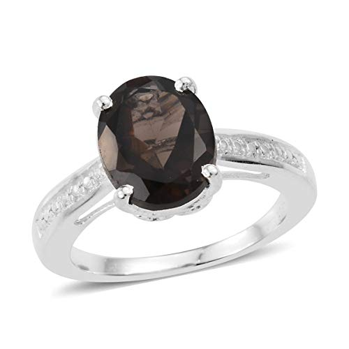 925 Sterling Silver Oval Smoky Quartz Solitaire Ring for Women Jewelry Gift Size 8 Cttw 2.1