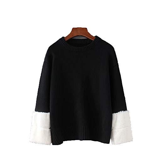 delle casual lana sheng maniche maglione inverno stile e Autunno di nuovo spelling Black donne Ju Awq8pFw
