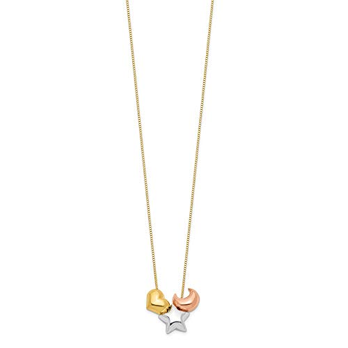 14K Tri Color Gold Plated Heart, Star & Moon Necklace