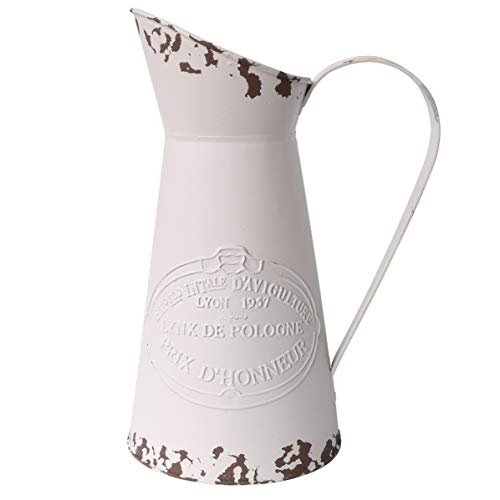 APSOONSELL French Style Country Primitive Jug Rustic Metal Pitcher Flower Vase for for Home Decoration Cream (Flowers Jugs Metal For)