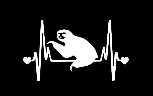 Stickerdad Sloth V2 Heartbeat Lifeline Vinyl Decal (Size: 7&Quot;, Color: White) For Windows, Walls, Bumpers, Laptop, Lockers, Etc. - 0785035509314
