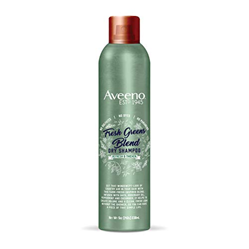Aveeno Fresh Greens Blend Volumizing Dry Shampoo for Thickness and Refresh, Sulfate Free Shampoo, No Dyes or Parabens, 5 oz
