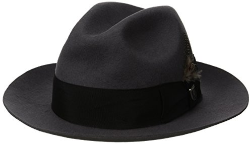 Stacy Adams Men's Cannery Row Wool Felt Fedora Hat, Gray, Medium (Felt Fedora Hats)