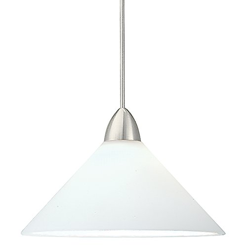 - WAC Lighting MP-LED512-WT/BN Jill 5W 12V 3500K LED MonoPoint Pendant with White Art Glass Shade, Brushed Nickel Finish