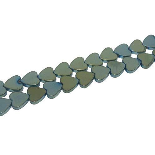 (Calvas 6 8 10 MM 9 Colors Heart Shape Hematite Beads Natural Stone Beads for Jewelry Making Spacer Beads DIY Bracelet - (Color: Green, Item Diameter: 10mm 35pcs Beads))