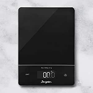Digital Kitchen Scale Food Scales, 15kg Multifunction Stainless Steel Accuracy with White LCD Display and Tare Function for Baking and Cooking