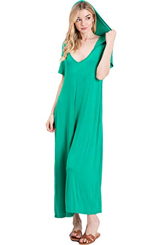 Annabelle Women's Short Sleeve V-Neck Hoodie Jumpsuit Plus Size with Pockets XX-Large Kelly Green J8071P