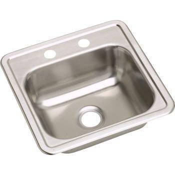 (Elkay D115163 23 Gauge Stainless Steel Single Bowl Top Mount Bar/Prep Sink, 15 x 15 x)