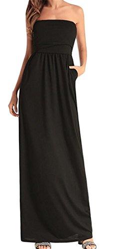 Shoulder Black Sleeveless Women's Domple Maxi Dress Party Summer Swing Off zwPOtqU