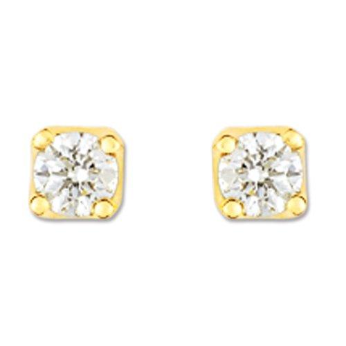Boucles d'Oreilles Femme - 10111188 - Or jaune 750/1000 0.73 gr - Diamant 0,15 cts