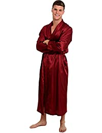 Mens Satin Solid Color Robe, Long Lightweight Loungewear