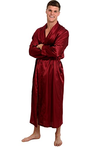 Alexander Del Rossa Men's Lightweight Satin Robe, Long Kimono, Medium Burgundy (A0720BRGMD) -