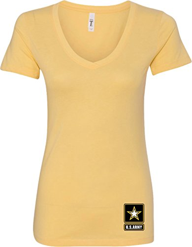 Ladies US Army Bottom Print V-neck, Banana, - Ban Shop Army