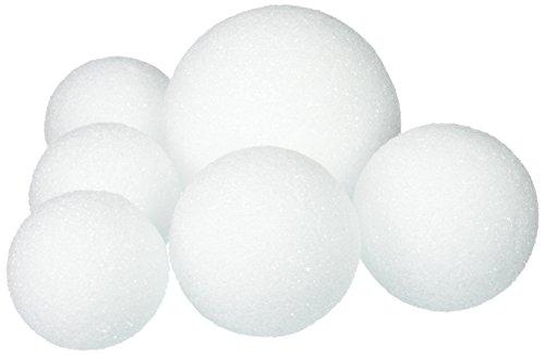 Floracraft FLOBA4325HB 6 Piece White Flora Craft Styrofoam Ball Package, 2.5-4