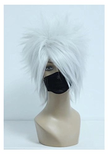 COSPLAZA Cosplay Wig Silver White Boy Male Anime Show Halloween Short Anime Full Hair]()