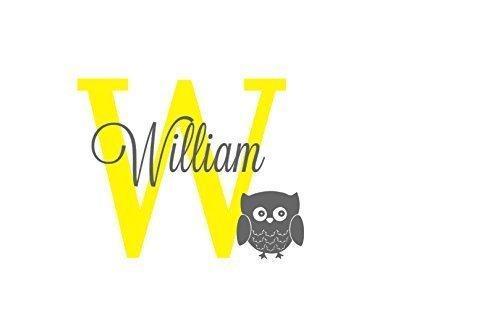 Amazon.com: Owl Name and Initial Decal, Monogram Boy Nursery, Owl ...