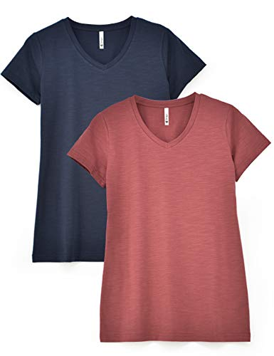Zengjo 2-Pack Basic Plain V Neck Slub T Shirts for Women Fitted Short Sleeve Cotton Modal Knit Tee Shirt(XL,Brick Red/Dark ()