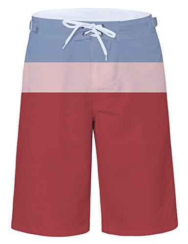 Mens Stripe Swim Shorts Hawaiian Print Board Shorts Slim Fit Surf Shorts Colorful Beach Shorts Summer Holiday Party Beachwear Quick Dry Sportwear Breathable Lightweight Surfing Running Swimming Short