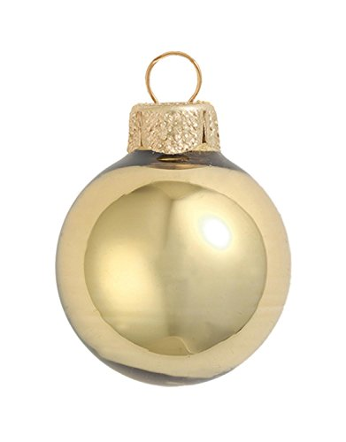 28ct Shiny Antique Gold Glass Christmas Ornaments 2'' (50mm) by Whitehurst