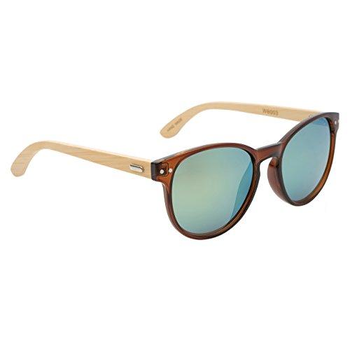 VINTAGE SERIES Bamboo Wood Erika Sunglasses - 100% UV Protection (Solid - Erika Wood