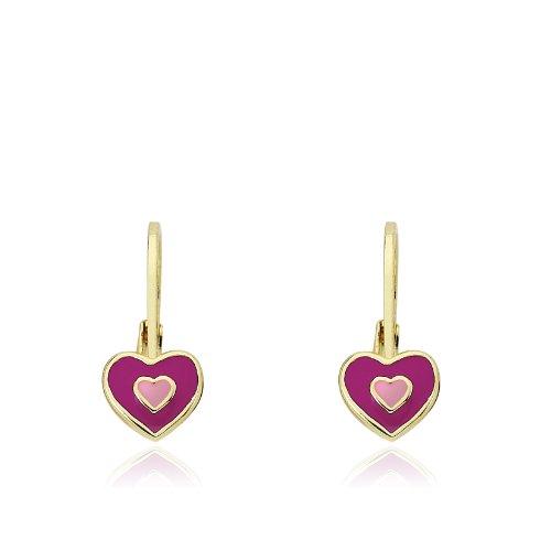 Little Miss Twin Stars Kids Earrings -Hot Pink Frosted heart 14k Gold Platedls Earrings Enamel Heart Leverback Girls Earrings-Brass (Heart Childrens Leverback Earrings)